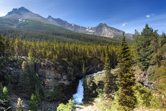 Waterfall and mountains stock images
