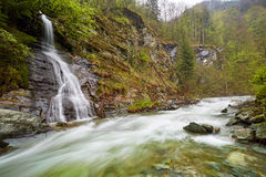 Waterfall on the mountains Stock Image