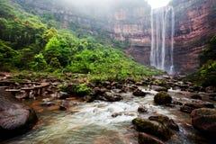 Waterfall in mountains at Chongqing. Beautiful high waterfalls in mountains in China's Chongqing Stock Photography