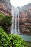 Waterfall in mountains at Chongqing. Beautiful high waterfalls in mountains in China's Chongqing Royalty Free Stock Image