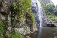 The waterfall with the mountains Royalty Free Stock Photos