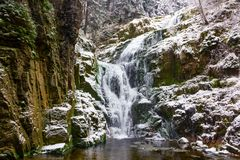 Waterfall in mountains. Famous Kamienczyk waterfall in the Karkonosze National Park in Sudety mountains Stock Images