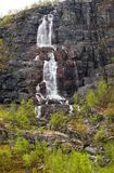 Waterfall in mountains in Finnmark, northern Norway stock images