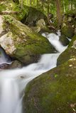 Waterfall in Pennsylvania Mountains. A waterfall in the mountains flowing quickly through some rocks in a forest Stock Images