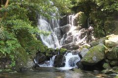 Waterfall. In the mountains of Kyushu Japan Stock Photo
