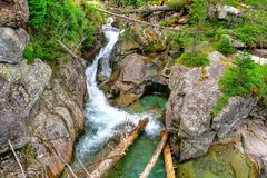Waterfall in mountains. Royalty Free Stock Photos
