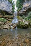 Waterfall in the mountains of the North Caucasus. University Waterfall. Royalty Free Stock Photo