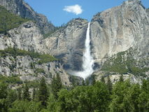 Waterfall. Mountains, and trees at Yosemite Royalty Free Stock Images