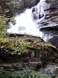 A waterfall in the mountains Stock Photo