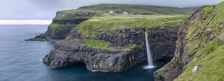 Waterfall Mulafossur on Faroe Islands, Denmark