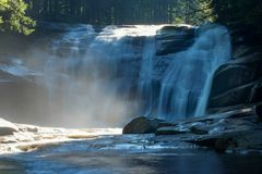 Waterfall Mumlava, Czech republic, Giant mountains Krkonose. Blue waterfall with cascade in forest. River Mumlava, Giant mountains Krkonose, Czech republic Stock Photos