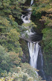Waterfall, Mynach Falls, cascade, trees. In Autumn or Fall. Royalty Free Stock Photos
