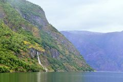 Waterfall at Naeroyfjord in Norway Stock Photography