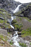 Waterfall named Stigfossen, close by the famous Trollstigen Road Royalty Free Stock Image