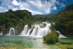 Waterfall in the national park Krka Stock Photos