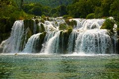 Waterfall in national park Krka - Croatia. Royalty Free Stock Photography