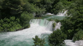 Waterfall in national park Krka, Croatia stock video
