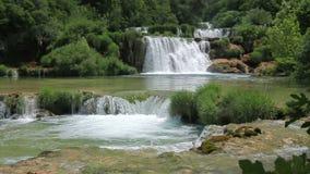 Waterfall in national park Krka, Croatia stock video footage