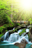 Waterfall. In National park Sumava Czech Republic Europe Stock Images