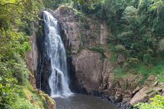 The waterfall in the national park at the winter Stock Photos