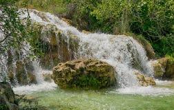 Waterfall in natural environment. Beautiful Waterfall in Natural Park Lagunas de Ruidera. Castilla la Mancha. Spain stock photography