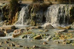 Waterfall at Natural Hot Springs in Italy Stock Images