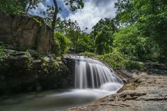 The waterfall nature view unseen in Thailand , name is monthatran waterfall Chiangmai Thailand. The waterfall nature view unseen in Thailand smooth of waterfall Stock Photo