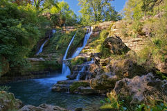 Waterfall Navacelles in southern France. Waterfall Navacelles, Herault southern France royalty free stock images