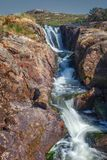 Waterfall near the Amhuinnsuidhe castle, Isle of Harris north, o royalty free stock images