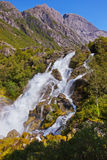 Waterfall near Briksdal glacier - Norway Stock Photo