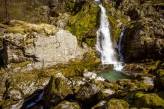 Waterfall near Briksdal glacier, Norway stock photography