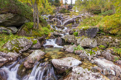 Waterfall near Morskie oko. Photo was taken in High Tatras on Polish side near Morskie oko lake ,Poland royalty free stock photo