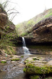Waterfall near the rock monastery Saharna village, Republic of M Stock Photography
