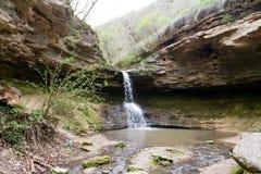 Waterfall near the rock monastery Saharna village, Republic of M Royalty Free Stock Photo