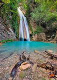Waterfall in Neda River Messinia, Greece. This is a beautiful stream and waterfall in River Neda. River Neda, is small river, located in South Greece, in Stock Photo