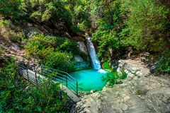 Waterfall in the Neda. The Neda is a river in the western Peloponnese in Greece. Neda is the only river in Greece with a feminine name. It flows into the Gulf royalty free stock images