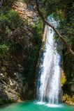 Waterfall in the Neda. The Neda is a river in the western Peloponnese in Greece. Neda is the only river in Greece with a feminine name. It flows into the Gulf royalty free stock photos