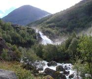 Waterfall neighborhood Briksdale, Norway Stock Photography