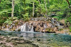 Waterfall in  Nera Gorge Beusnita National Park, Romania Royalty Free Stock Photos