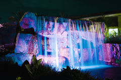 Waterfall at night. Beautiful waterfall in a garden at night Stock Photography