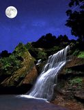 Waterfall At Night Stock Image