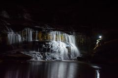 Waterfall at night. A waterfall in Pickens County in South Carolina Stock Images