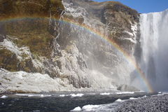 Waterfall in North of Iceland With rainbow Stock Photo