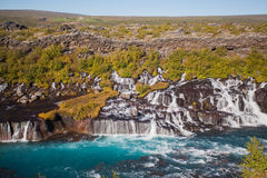 Waterfall in the northern Iceland. On a sunny summer Stock Photography