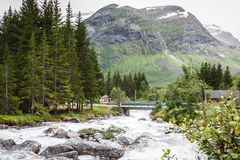 Waterfall in Northern Norway Stock Images