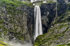 Waterfall in northern Norway, glacier Kjenndalsbreen. Waterfall in northern Norway,  Kjenndalsbreen Royalty Free Stock Photo