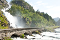 Waterfall in Norway Stock Images