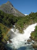 Waterfall Norway with rainbow Stock Photo
