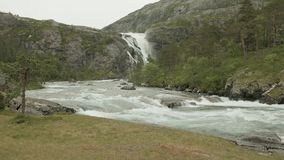 Waterfall in Norway stock video