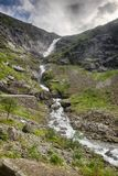 Waterfall in Norway summer travel. Nature travel in Europe hiking and waterfall sightseeing Stock Images
